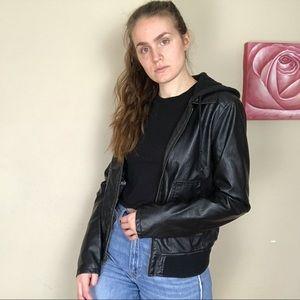 """""""Leather"""" Moto Jacket with Hood"""